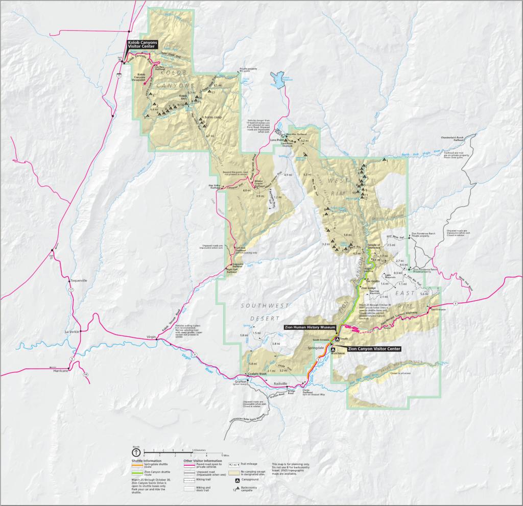 Mapa Parku Zion